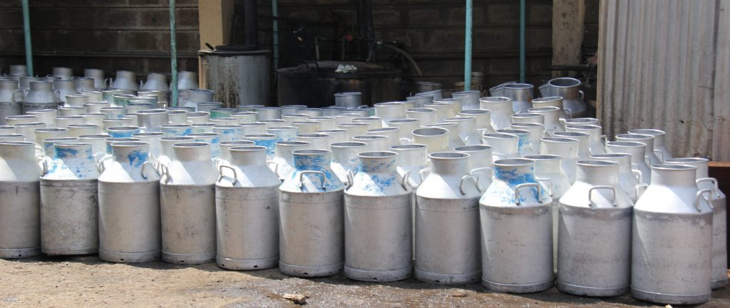Milk cans at the Kiambaa Dairy Rural Sacco Society in Kenya. Tracking indicators like milk production will help funders ensure projects are making a difference for farmers. Photo credit: ILRI/Eyeris pictures media.
